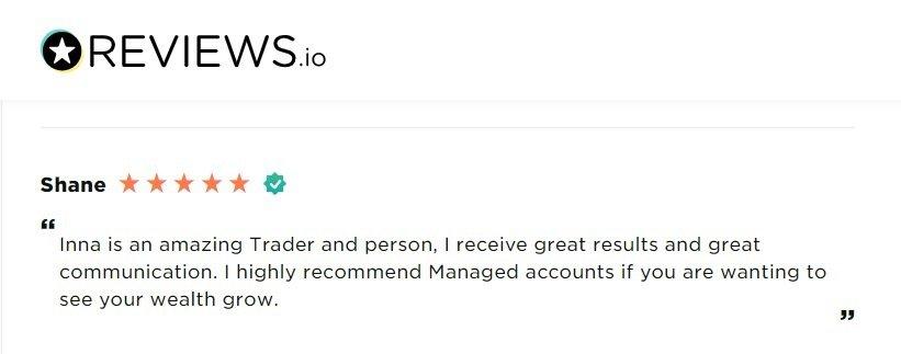 Verified Inna Rosputnia's managed accounts reviews and success